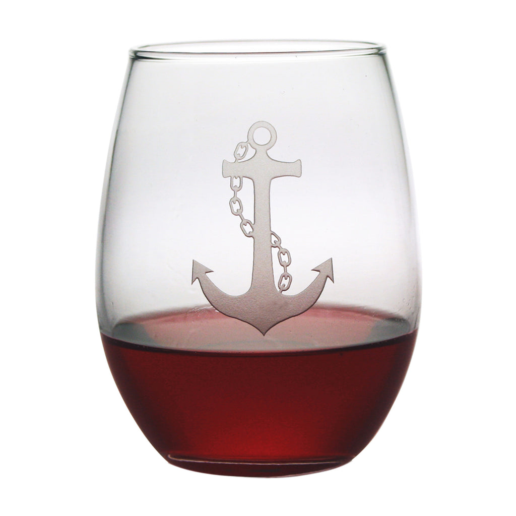 Anchor ~ Stemless Wine Glasses ~ Lake House Gifts