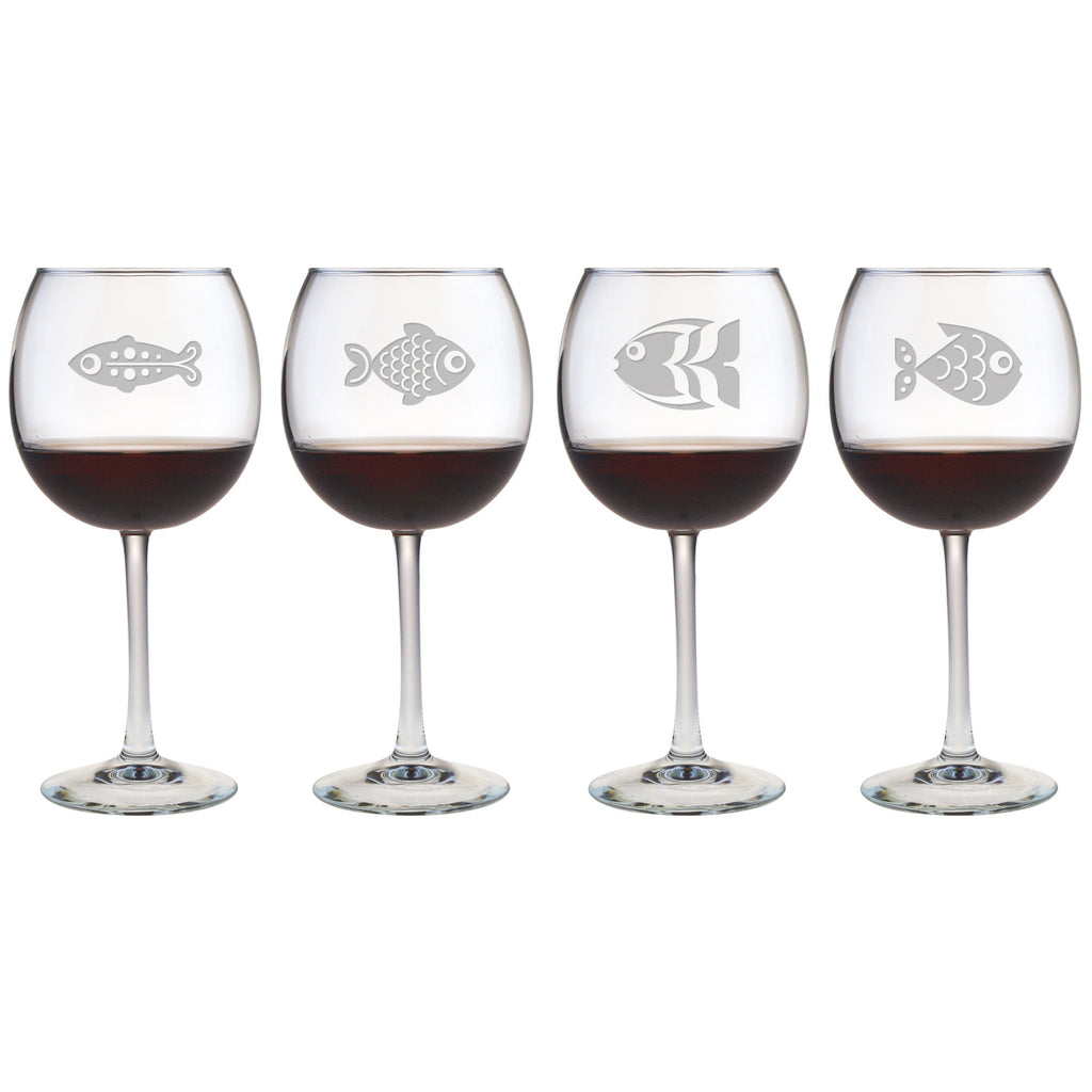 Fish Assortment Wine Glasses ~ Set of 4