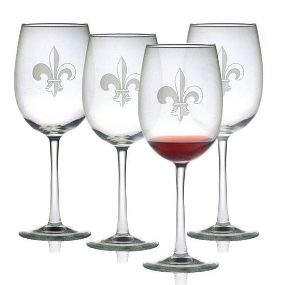 Fleur de Lis Wine Glasses ~ Set of 4