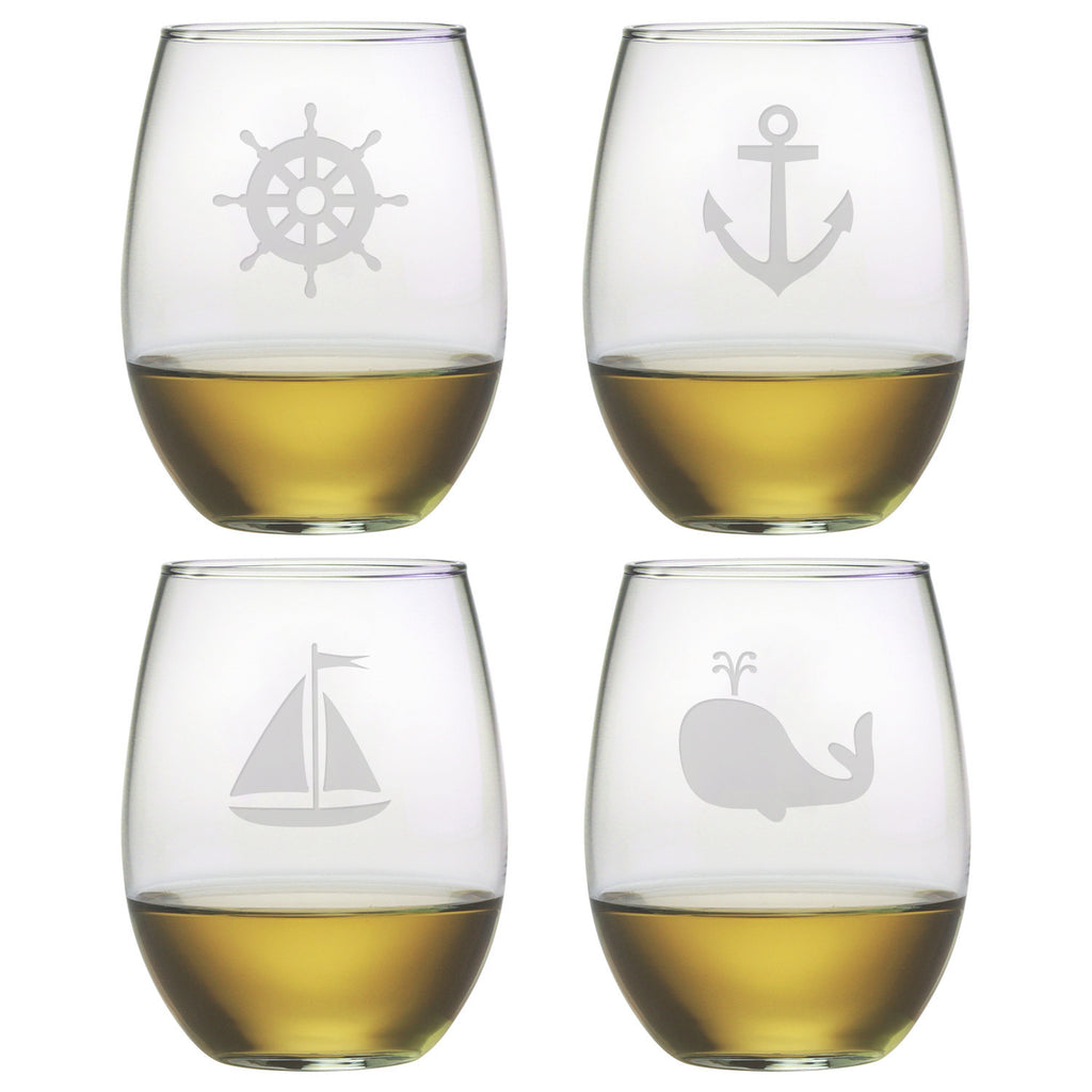 Nautical Icons Stemless Wine Glasses