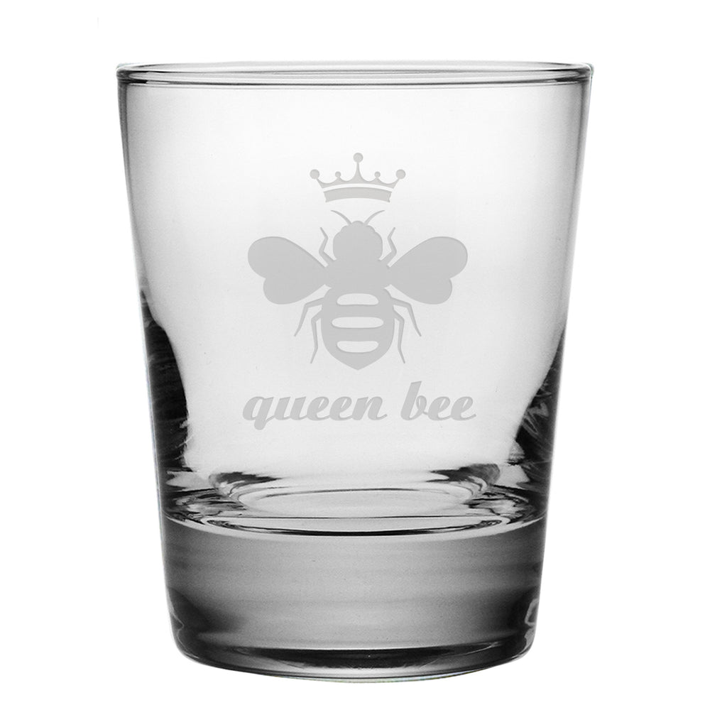 Queen Bee Double Old Fashioned Glasses ~ Set of 4