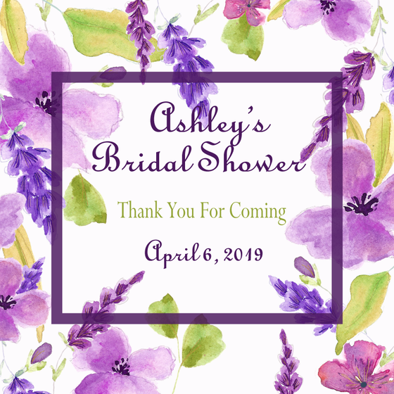Sweet Violet Bridal Shower Personalized Candle - Party Favors Wedding Favors Bridal Shower Gifts