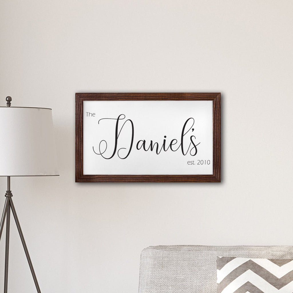 Canvas Sign Personalized Gifts - Last Name - With Frame
