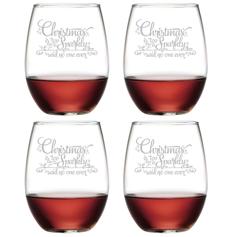 Sparkly Christmas ~ Stemless Wine Glasses | Christmas Gifts