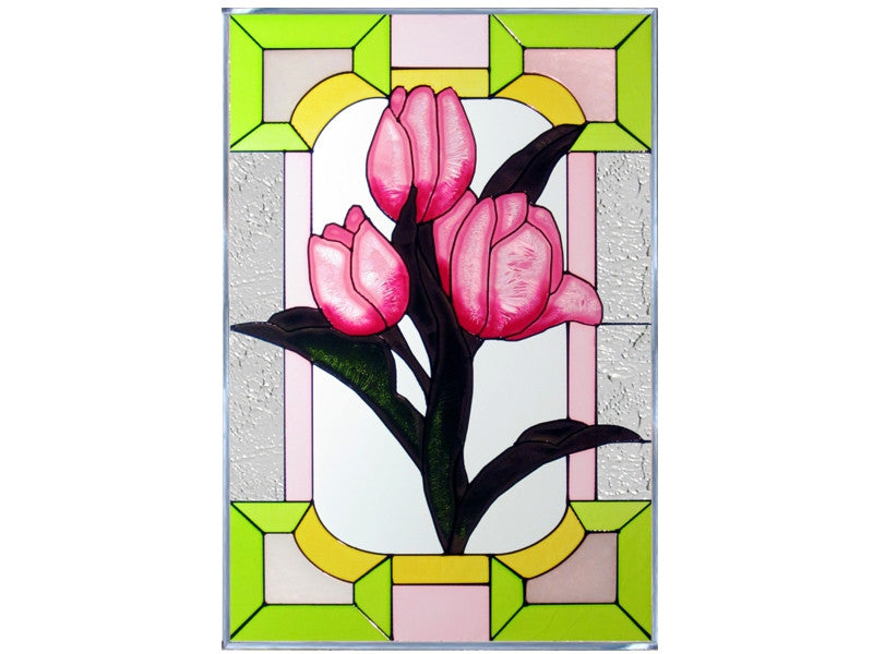 Tulips Hand Painted Stained Glass Art
