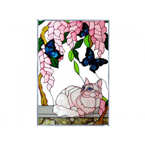 Cat & Butterflies 2 Hand Painted Stained Glass Art