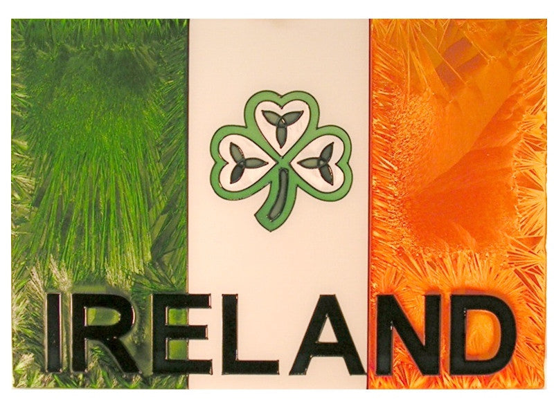 Irish Flag Hand Painted Stained Glass Art