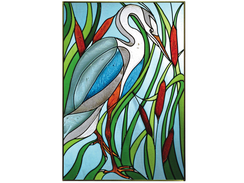 Great Blue Heron Hand Painted Stained Glass Art - Premier Home & Gifts