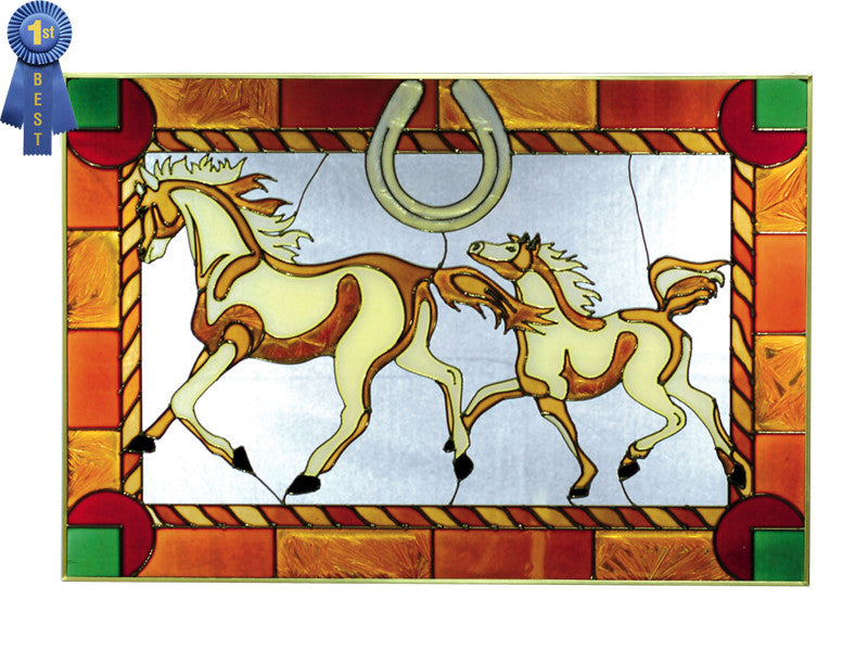 Horses and Horseshoe Hand Painted Stained Glass Art - Premier Home & Gifts