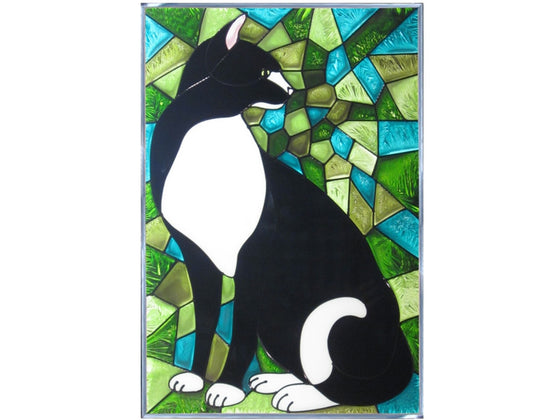 Black & White Cat Hand Painted Stained Glass Art