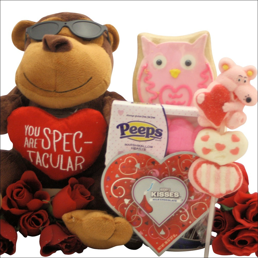Cool Monkey Kids Valentine Gift Basket - Valentine's Day Gift Baskets