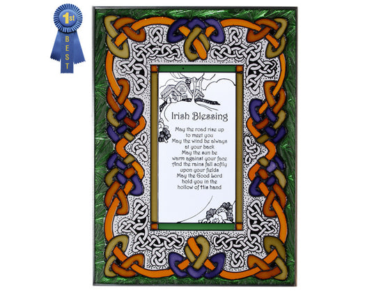 Irish Blessing Hand Painted Stained Glass Art