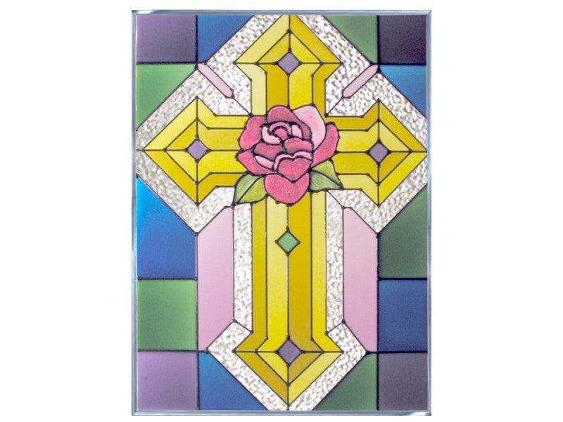 Cross with Rose Hand Painted Stained Glass Art