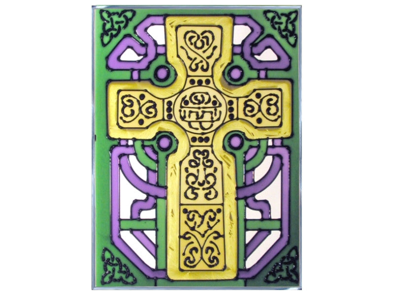 Celtic Cross Hand Painted Stained Glass Art