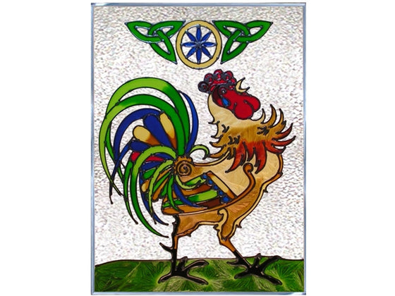 Irish Rooster Hand Painted Stained Glass Art