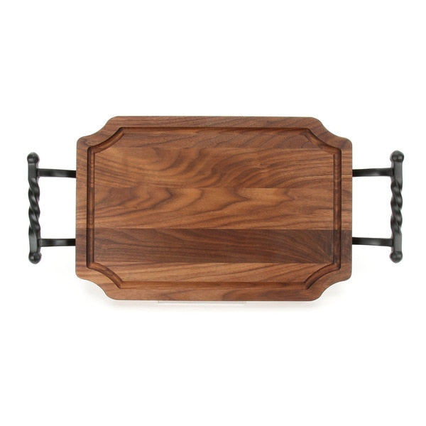 Initial Carved Walnut Curved Serving Tray ~ Personalized