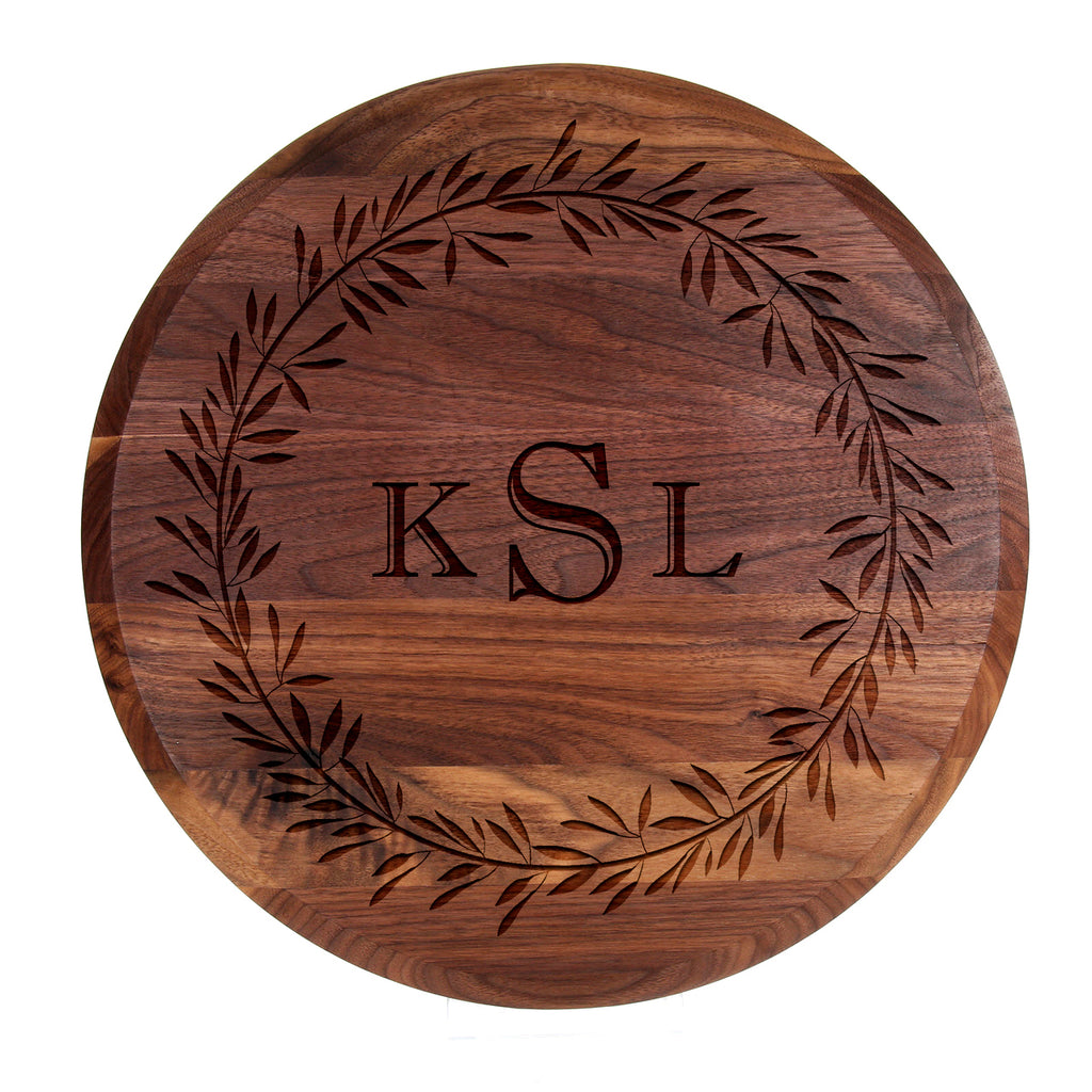 Laurel Wreath Monogrammed Lazy Susan Personalized Gifts