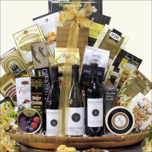 Beringer Founders Estates Cellar Wine Trio Gourmet Wine Gift Basket