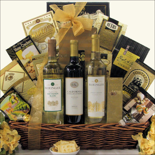 Beringer California Collection Trio Wine Gift Basket - Premier Home & Gifts