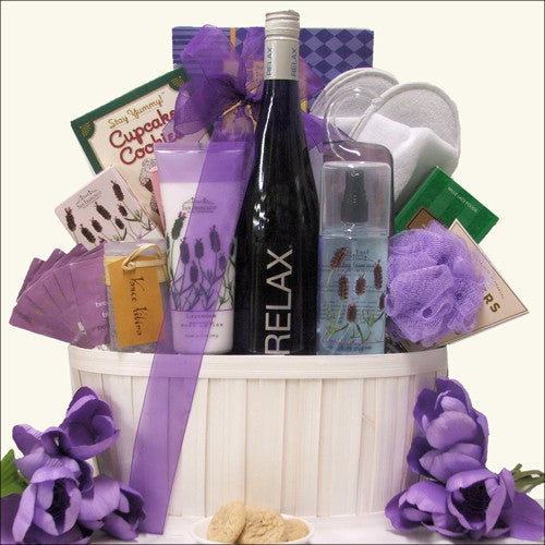 Relax Riesling Wine & Spa Gift Basket - Premier Home & Gifts