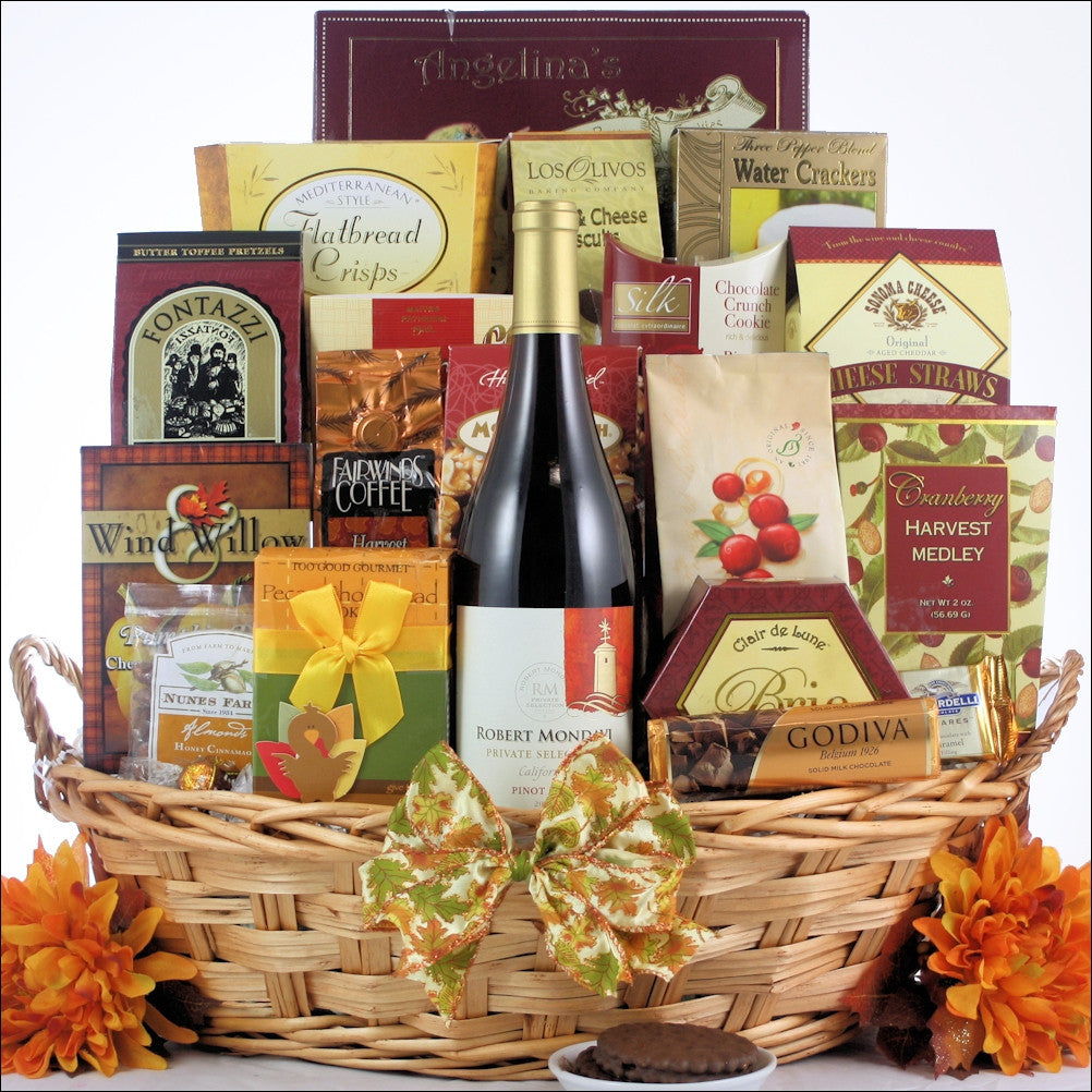 Traditional Thanksgiving Wishes Gourmet Thanksgiving Wine Gift Basket