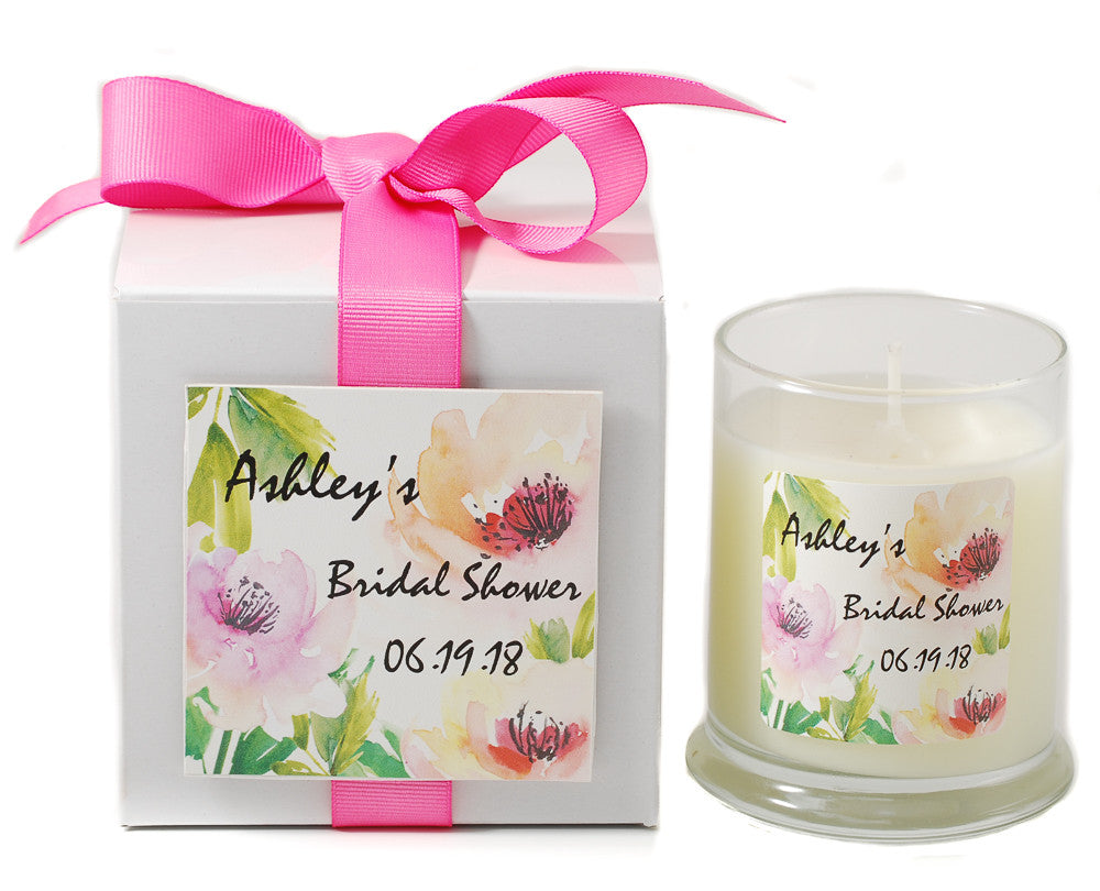 Water Rose Bridal Shower Personalized Candle - Bridal Shower Party Favors