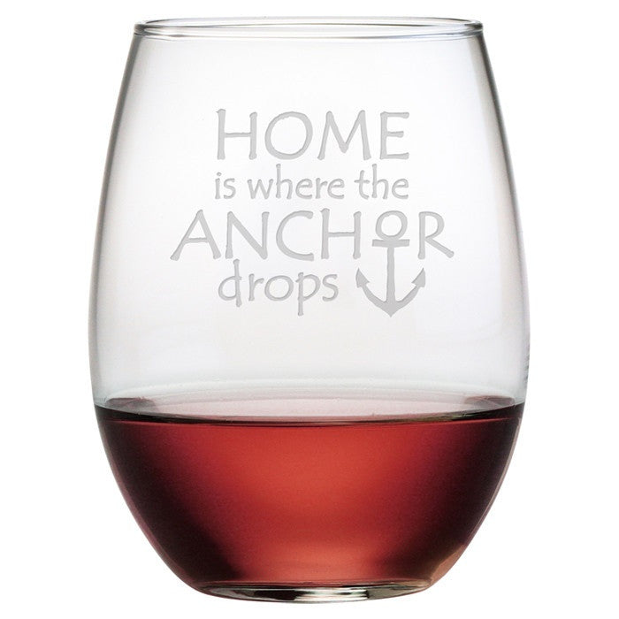 Home is Where the Anchor Drops Stemless Wine Glasses - Premier Home & Gifts