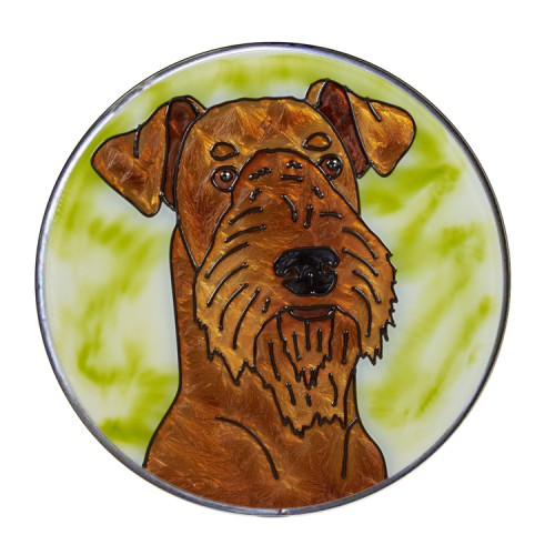 Airedale Hand Painted Stained Glass Art Suncatcher - Gifts for Dog Owners