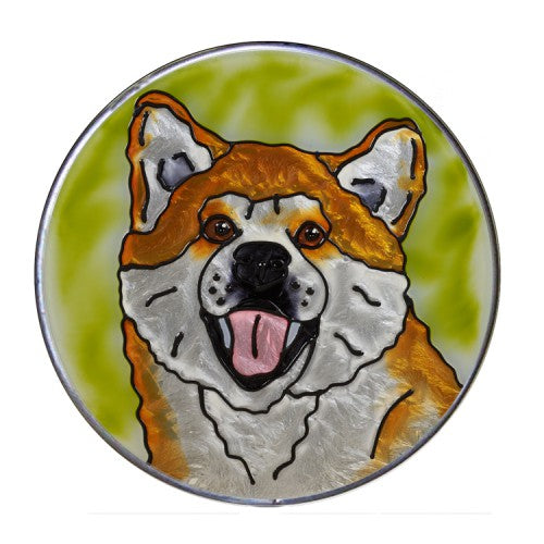 Akita Hand Painted Stained Glass Art Suncatcher - Gifts for Dog Owners