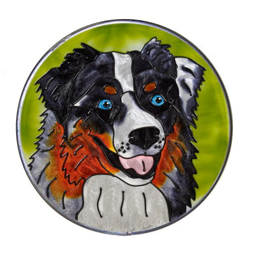 Australian Shepherd Hand Painted Stained Glass Art Suncatcher - Australian Shepherd Gifts