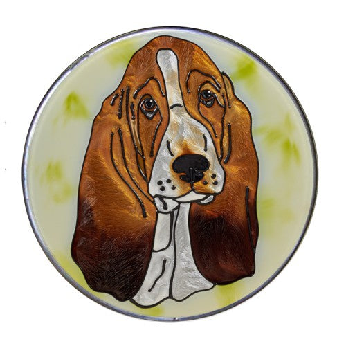 Basset Hound Hand Painted Stained Glass Art Suncatcher - Gifts for Basset Hound Owners