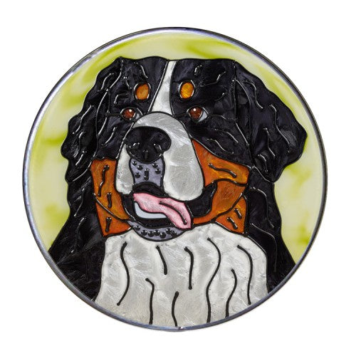 Bernese Mountain Dog Hand Painted Stained Glass Art Suncatcher
