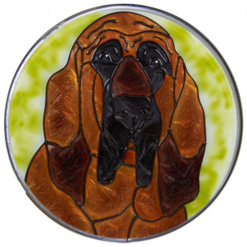 Bloodhound Hand Painted Stained Glass Art Suncatcher - Gifts for Dog Owners