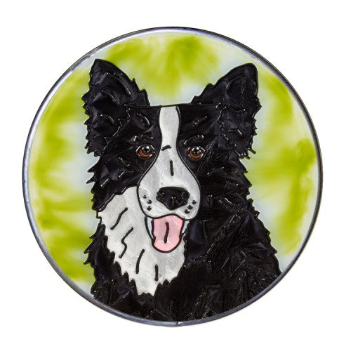 Border Collie Hand Painted Stained Glass Art Suncatcher - Gifts for Dog Owners