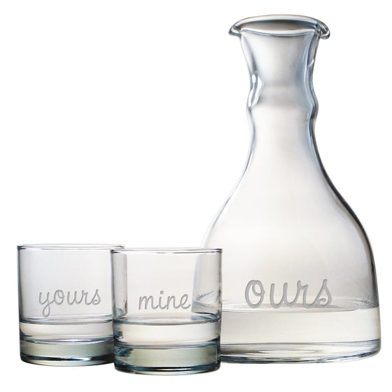 Yours, Mine, Ours Glasses and Carafe Set