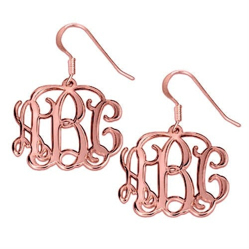 Monogram 18K Plated Rose Gold Earrings