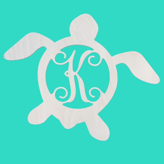 Sea Turtle Initial Wood Monogram - Beach House Decor