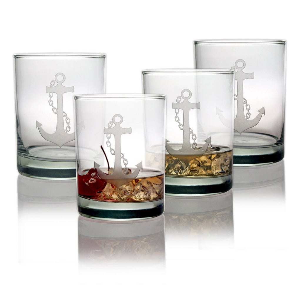 Anchor Double Old Fashioned Glasses ~ Set of 4