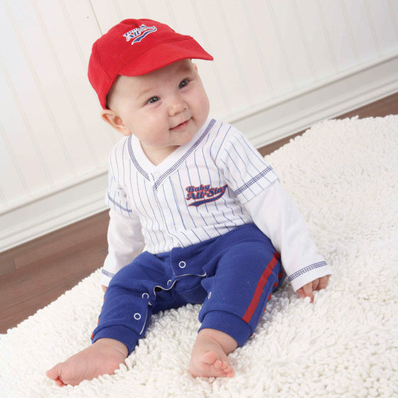 Baby Baseball Three Piece Layette Set in Gift Box