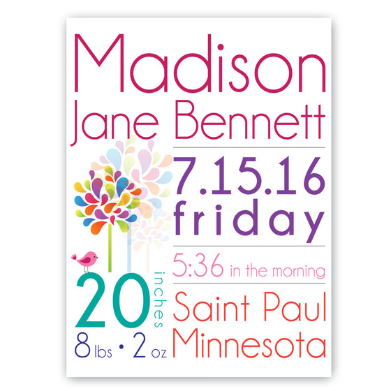Baby Girl Announcement Canvas Sign ~ Personalized