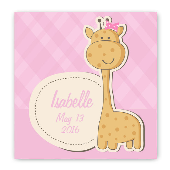 Giraffe Nursery Canvas Sign - Pink