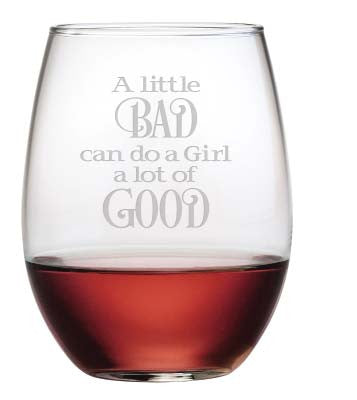 A Little Bad Stemless Wine Glasses