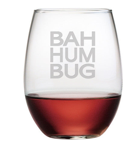 BAH HUM BUG ~ Stemless Wine Glasses ~ Set of 4
