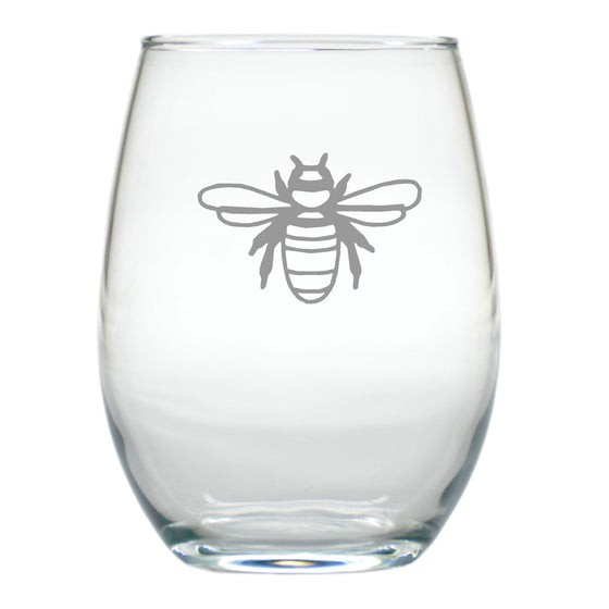Bee Stemless Wine Glasses ~ Set of 4
