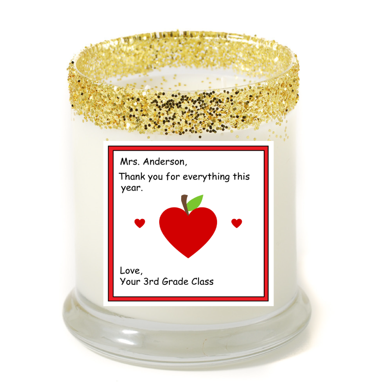 Big Heart Teacher Personalized Candle - Teacher Gifts - Premier Home & Gifts