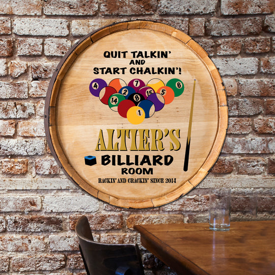 Billiard's Whiskey Wine Barrel Sign - Premier Home & Gifts