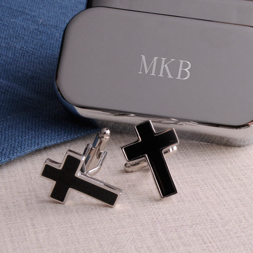 Black Cross Cufflinks with Personalized Case