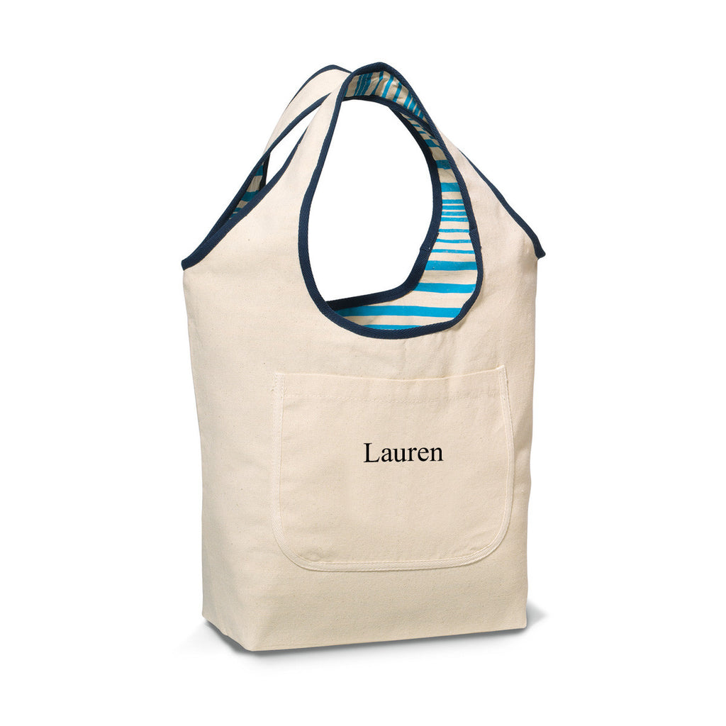 Reversible Cotton Tote Bag - Blue | Premier Home & Gifts