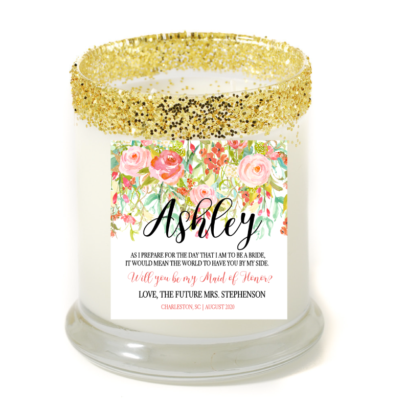 Blush Garden By My Side Maid of Honor Personalized Candle - Bridesmaid Gifts - Premier Home & Gifts