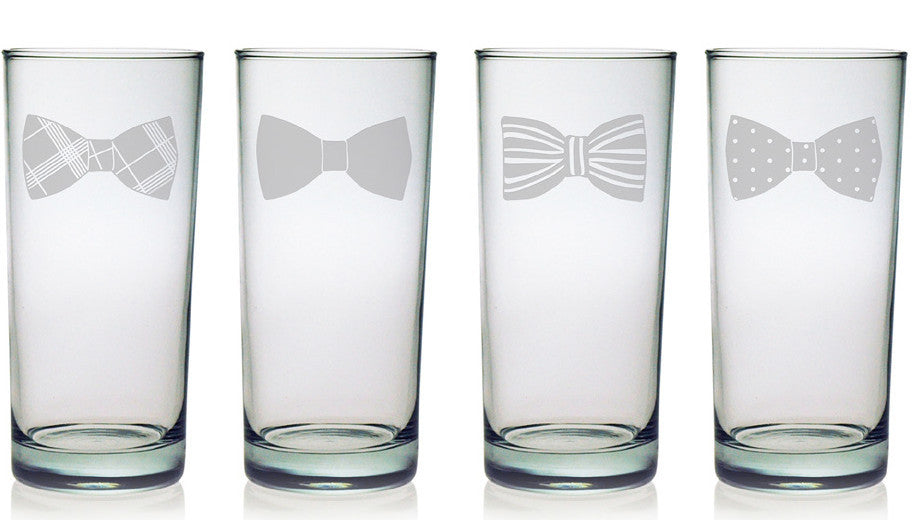 Bow Ties Highball Glasses ~ Set of 4